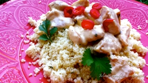 Couscous with creamy parsley chicken