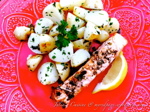 Black Pepper Salmon with Parsley and Capers Potato